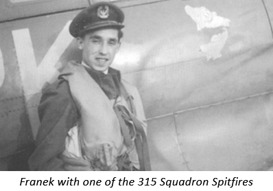 Franek with one of the 315 Squadron Spitfires