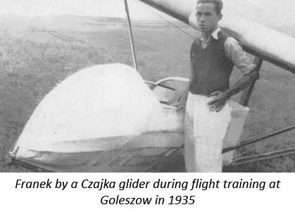 Franek by a Czajka glider during flight training at Goleszow in 1935